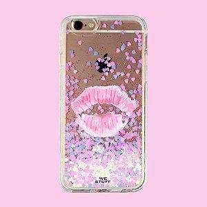 "Capa para Celular ""Case"" Kiss Glitter"