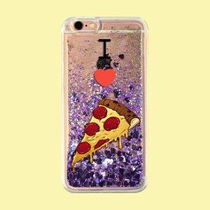 "Capa para Celular ""Case"" I Love Pizza Glitter"
