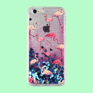 "Capa para Celular ""Case"" Flamingos Glitter"