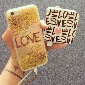 "Capa para Celular ""Case"" Love Glitter"