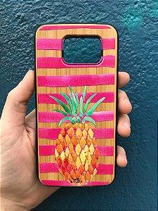 """Capa para Celular """"Case"""" Abacaxi Bambu Samsung"""