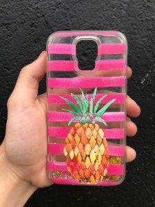 "Capa para Celular ""Case"" Abacaxi Feelings Glitter Samsung"