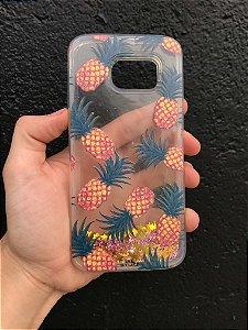 """Capa para Celular """"Case"""" Abacaxi Glitter Samsung"""