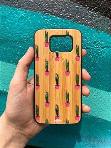 """Capa para Celular """"Case"""" Cacto Bambu Samsung"""