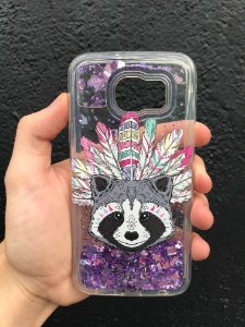 "Capa para Celular ""Case"" Guaxinim Glitter Samsung"