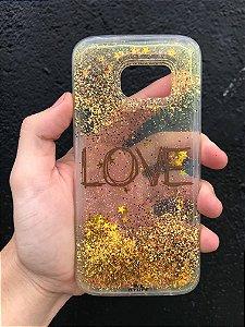 "Capa para Celular ""Case"" Love Glitter Samsung"