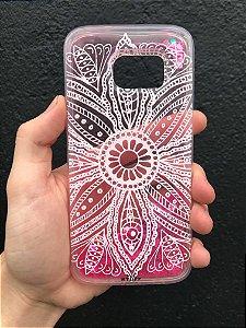 "Capa para Celular ""Case"" Mandala Branca Glitter Samsung"
