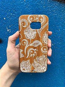 """Capa para Celular """"Case"""" Mandala Rosas Bambu Samsung"""