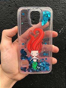 """Capa para Celular """"Case"""" Pequena Sereia Glitter Samsung"""