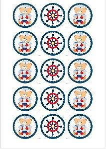 URSINHO MARINHEIRO 001 MEDALHAO 5 CM (CORTADO)  - 15 UNIDADES