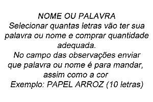 NOME OU PALAVRA 4 CM PAPEL PREMIUM
