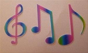 NOTAS MUSICAIS ARCO IRIS 5 CM PACOTE COM 12 UNIDADES (04 CADA)