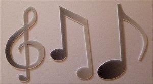 NOTAS MUSICAIS PRETO COM BRANCO 5 CM (12 UNIDADES) PAPEL PREMIUM
