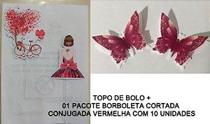 KIT SILHUETA 006 COM ÁRVORE + BORBOLETA CONJUGADA (COMESTÍVEL)