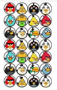 ANGRY BIRDS 001 MEDALHÃO 4 CM(28 UNIDADES)