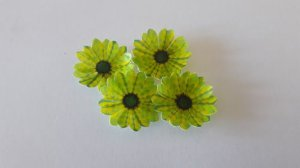 MINI MARGARIDA VERDE ESTAMPADA (10 UNIDADES)