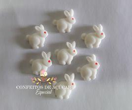 MINI COELHINHOS BRANCOS (12 PEÇAS) CONFEITOS DE AÇÚCAR