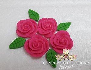 ROSA MÉDIA ROSA PINK (08 PEÇAS) CONFEITO DE AÇÚCAR