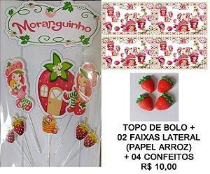 KIT MORANGUINHO 001 (TOPO DE BOLO + FAIXA LATERAL + CONFEITOS)