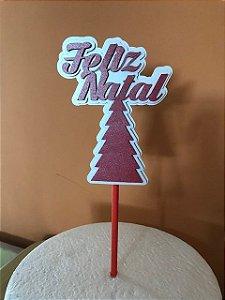 FELIZ NATAL - ÁRVORE 3D TOPO DE BOLO (12,5X10)