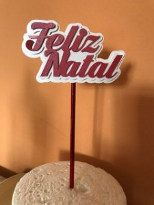 FELIZ NATAL TOPO DE BOLO 3D (12 CM)
