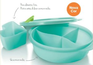 Tupperware Cristalwave Marmita Com Divisórias 900ml - Mint