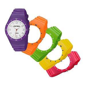 Relógio Mormaii Aquarela 2035AAM-8L troca pulseiras 5 cores