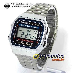 Relógio Casio A168WA-1U Vintage Retrô Prateado Unissex