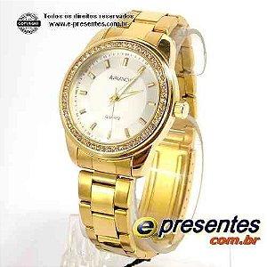 Relogio Feminino Dourado Redondo com Strass AV2364-1