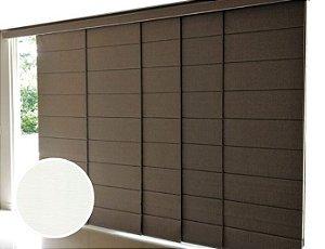 Cortina Painel Romano Blackout cor Branco Texturizado