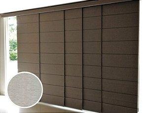Cortina Painel Romano Blackout cor Cinza Texturizado