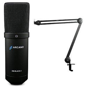 Microfone condensador USB Arcano AM-BLACK-1 + Pedestal articulado IRON ARM-1