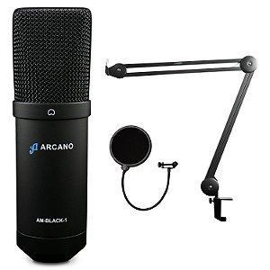 Microfone USB Arcano AM-BLACK-1 + Pop filter AM-POP + Pedestal articulado IRON ARM-1