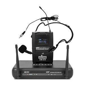 Microfone sem fio UHF Arcano AM-EH auricular e lapela