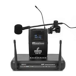 Microfone sem fio UHF Arcano AM-S1 sax e lapela