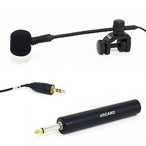 Microfone condensador para instrumento Arcano WZS-3000 c/ adaptador P10 sax