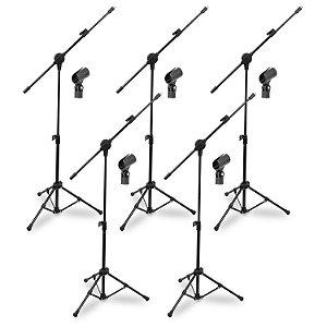 5 pedestais convencionais Arcano p/ microfone PMV-100-Pac