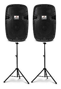 Kit Arcano 2 caixas de som ativas AR-PS-10 150w + Pedestais AR-STAND2