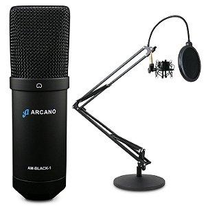 Microfone condensador USB Arcano AM-BLACK-1 + Pedestal articulado AR-4S de mesa