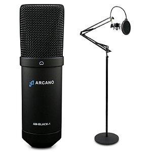 Microfone condensador USB Arcano AM-BLACK-1 + Pedestal articulado AR-5S de chão