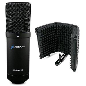 Microfone condensador USB Arcano AM-BLACK-1 + Protetor acústico ARC-SK1