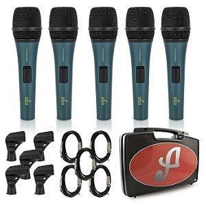 Kit com 5 microfones dinâmicos Arcano PLATINUM-B8KIT com fio
