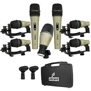 Kit de microfones dinâmicos para bateria Arcano AM-GOLD7