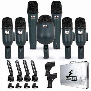 Kit de microfones dinâmicos para bateria Arcano AM-BTWIN7