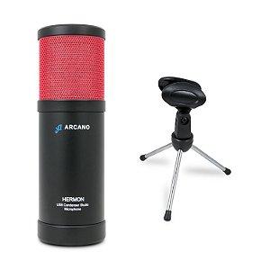 Microfone condensador USB Arcano HERMON + Pedestal de mesa AR-14S