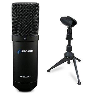 Microfone condensador USB Arcano AM-BLACK-1 + Tripé de mesa AR-17S