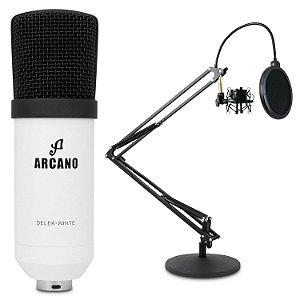 Microfone condensador USB Arcano DELEK-WHITE + Pedestal articulado AR-4S de mesa