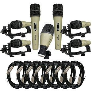 Kit de microfones para bateria Arcano AM-GOLD7 + 7 cabos XLR-XLR