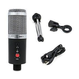 BM800 BM-1 Microfone condensador USB, com fio, tripé, suporte e cabo USB. MARCA: BM800 AUDIO. MOD.: