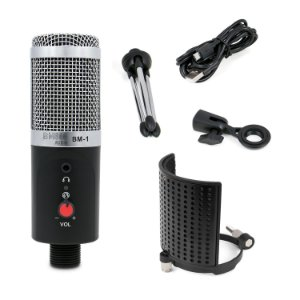 Microfone condensador BM800 AUDIO BM-1 + Pop filter ARC-PR3